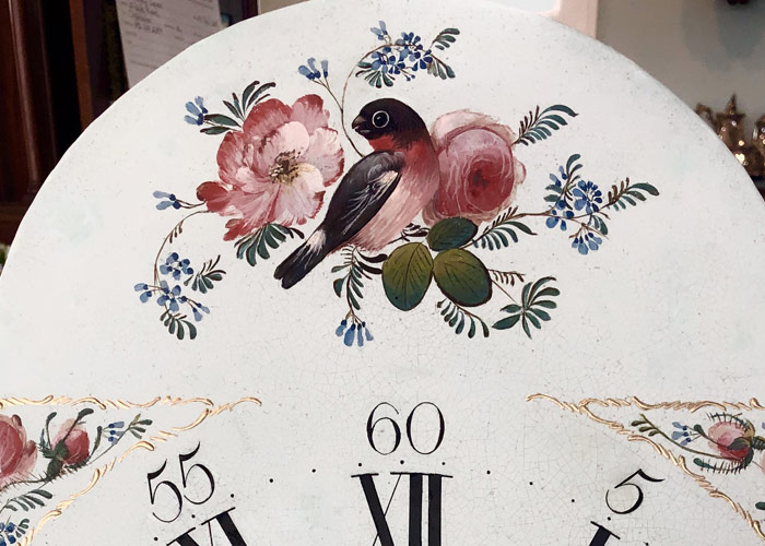 Bird Restored Antique Painted Clock Dial