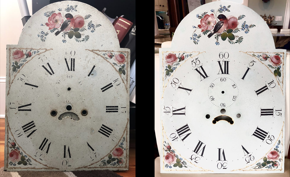 Birds painted dial before and after