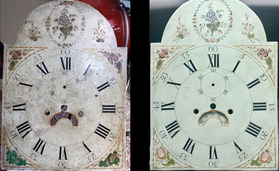 Blue Vines painted dial before and after