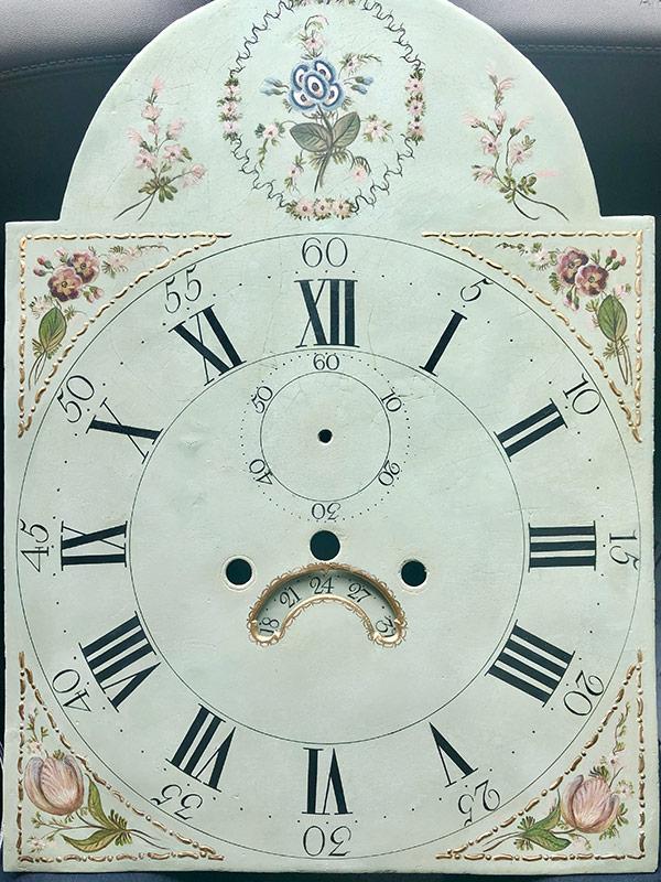 Blue Vines antique painted clock dial