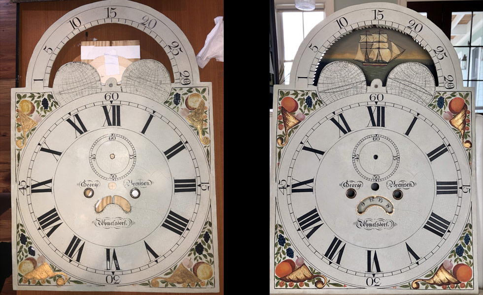 Cornucopia painted dial before and after