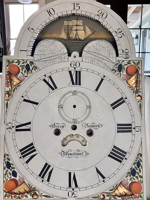 Cornucopia antique painted clock dial