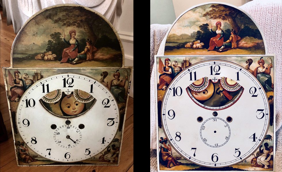 Couple with Sheep painted dial before and after