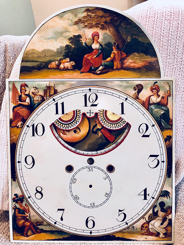 Couple with Sheep antique painted clock dial