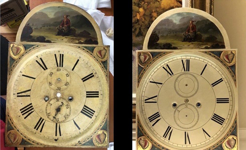 Fisherman with Shells painted dial before and after