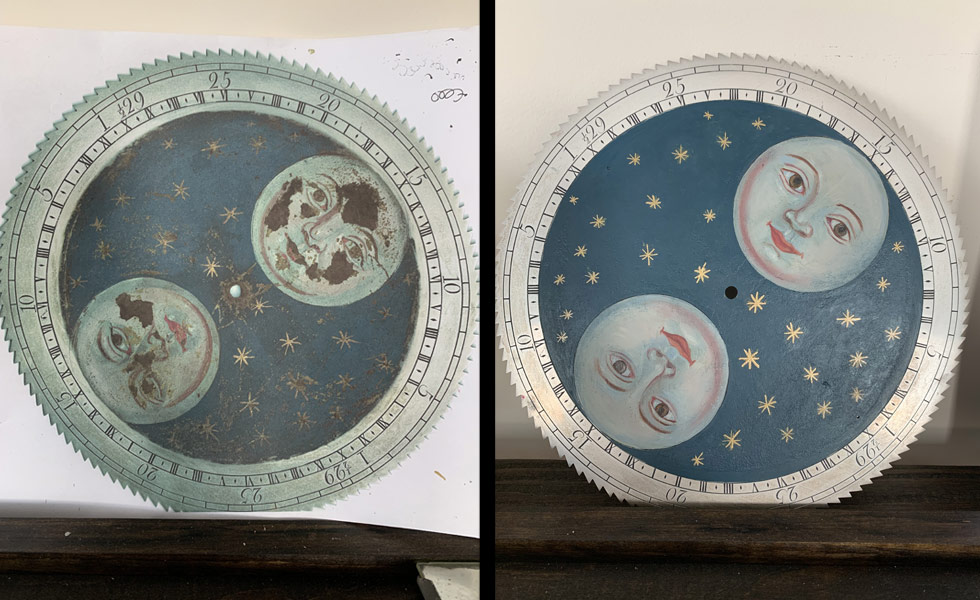 Grey painted moon dial before and after