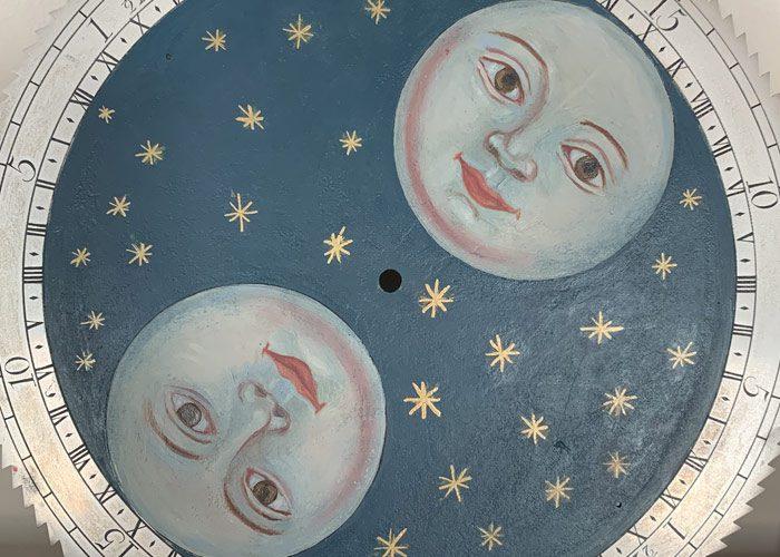 Grey Moon Restored Antique Moon Clock Dial