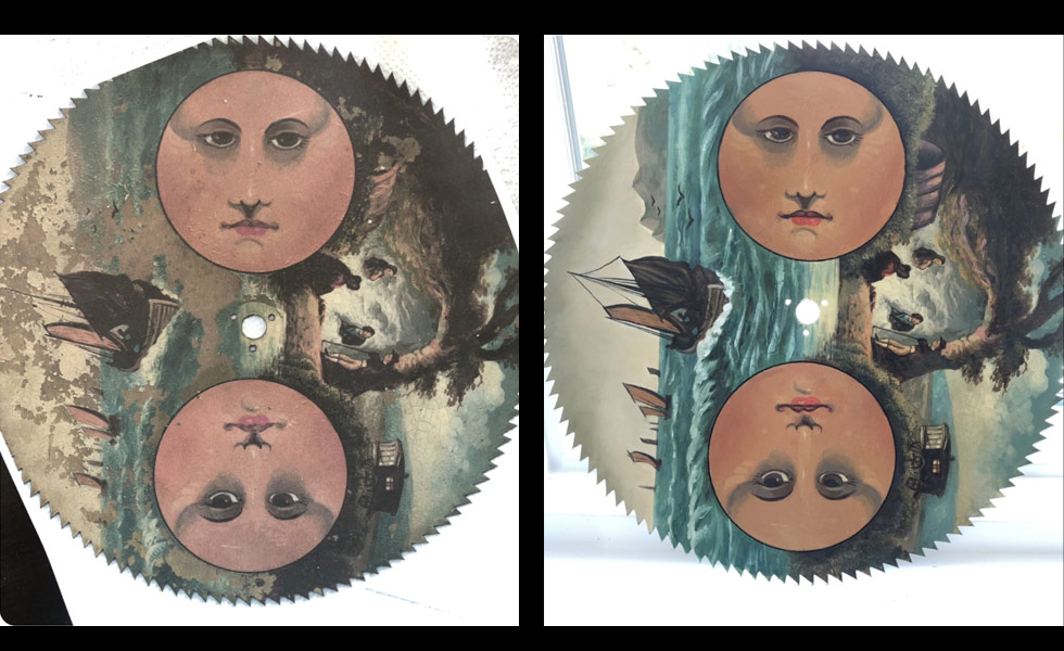 Gypsy painted moon dial before and after