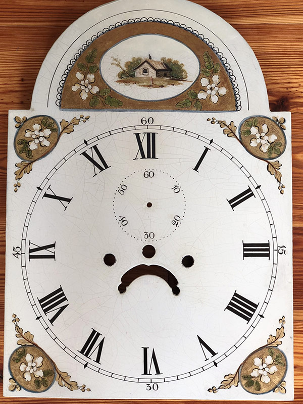 House with Gold antique painted clock dial