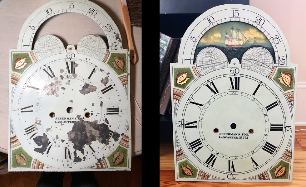 J Eberman and Son painted dial before and after