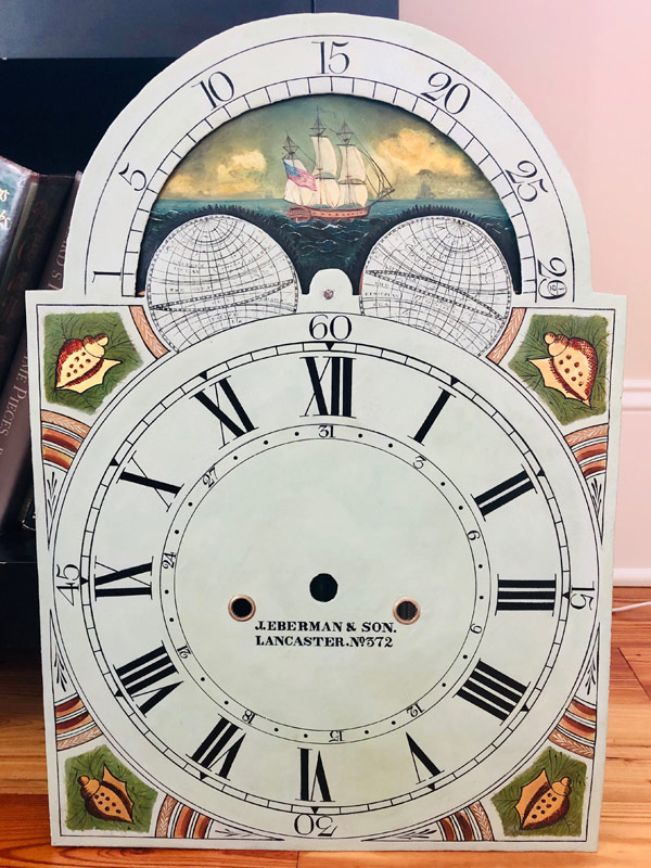 J Eberman and Son antique painted clock dial