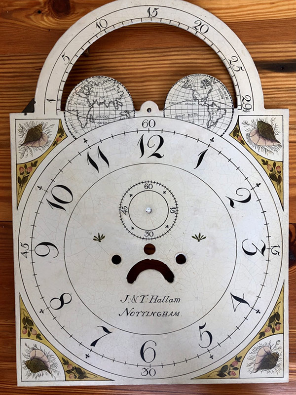 JT Hallum antique painted clock dial
