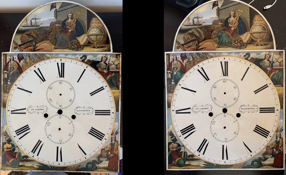 John Cameron painted dial before and after