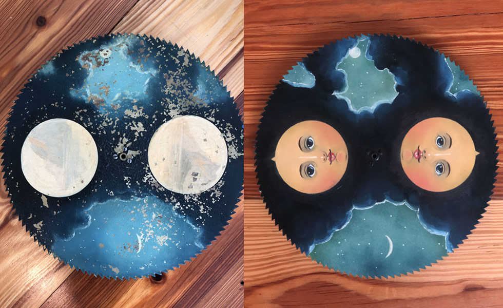 Night Sky painted moon dial before and after
