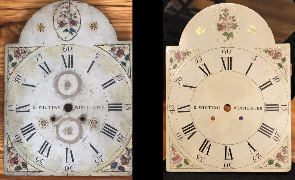R Whiting painted dial before and after