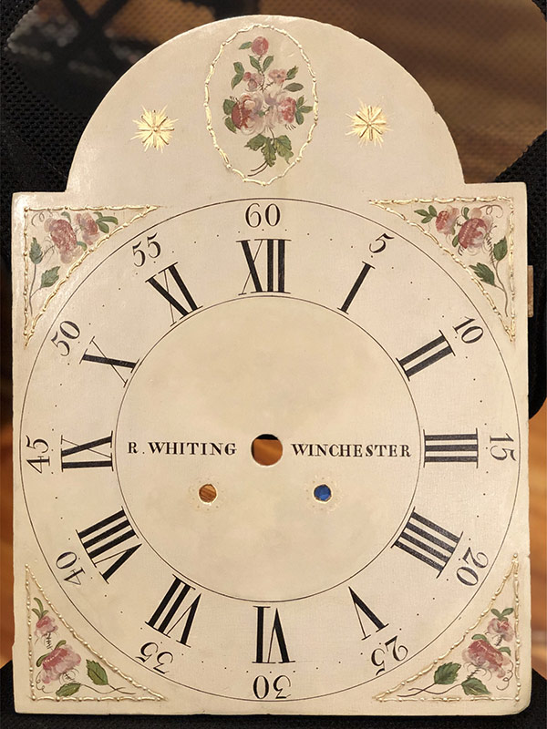 R Whiting antique painted clock dial