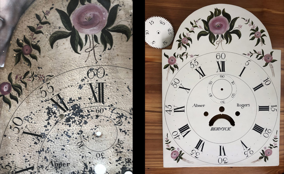 Roses painted dial before and after