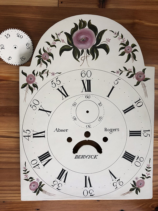 Roses antique painted clock dial