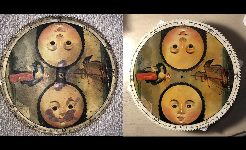 Simon Willard painted moon dial before and after