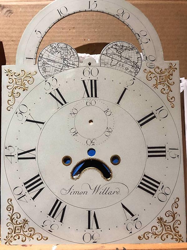 Simon Willard antique painted clock dial