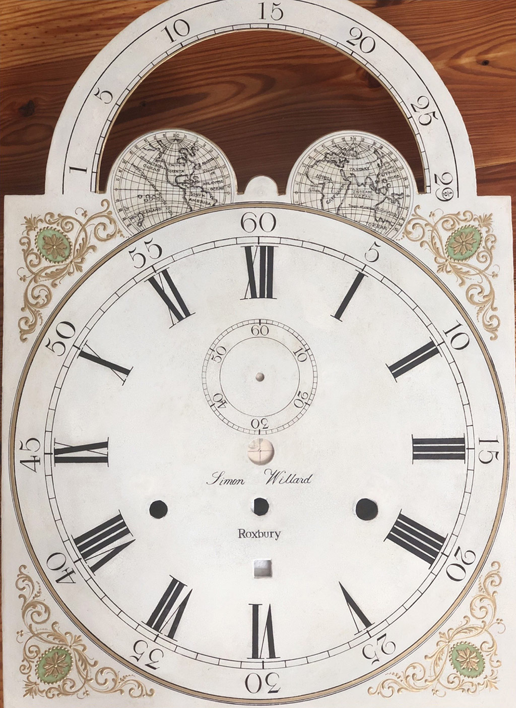 Simon Willard Roxbury grandfather clock dial
