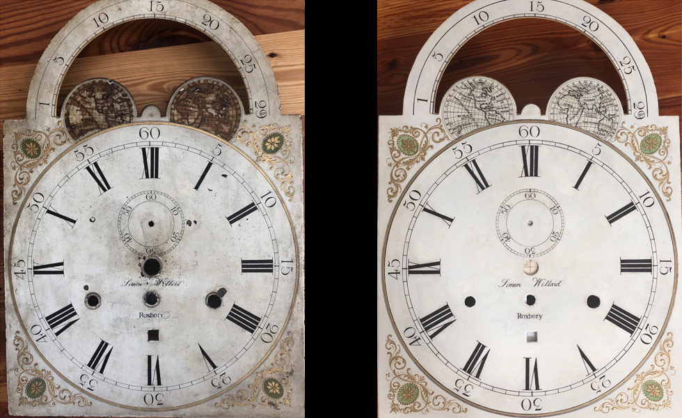 Simon Willard Roxbury painted dial before and after
