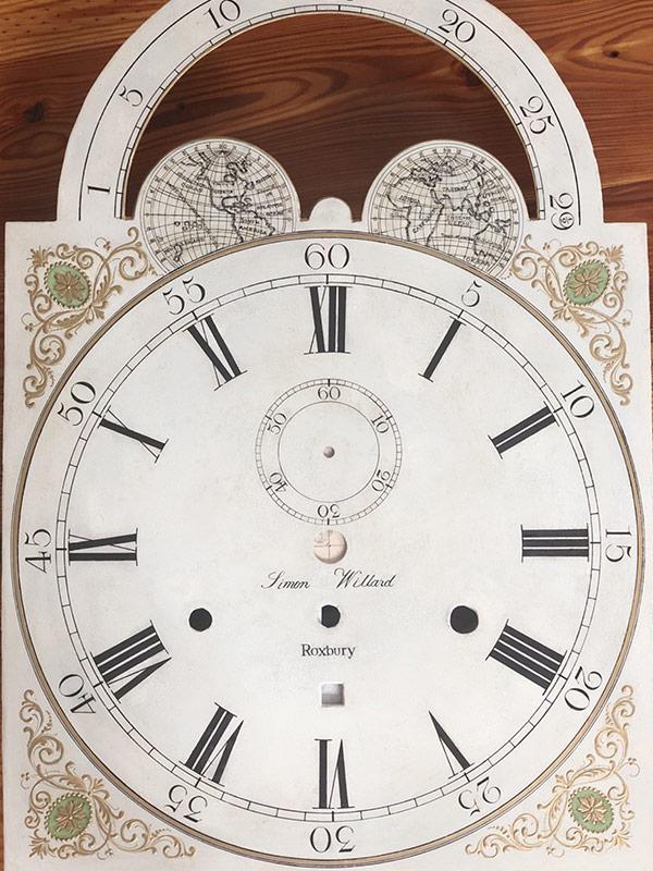 Simon Willard Roxbury antique painted clock dial