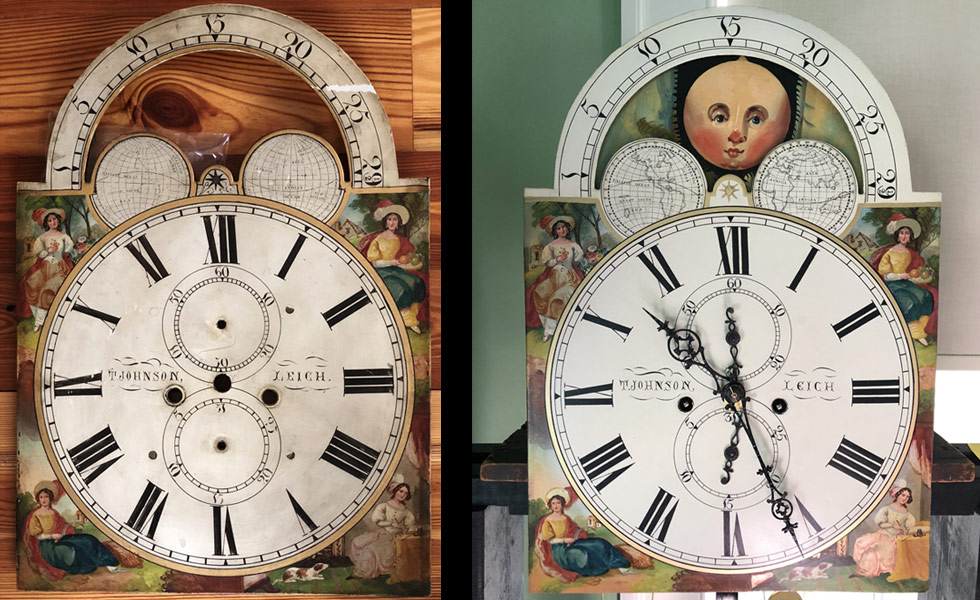 T Johnson painted dial before and after