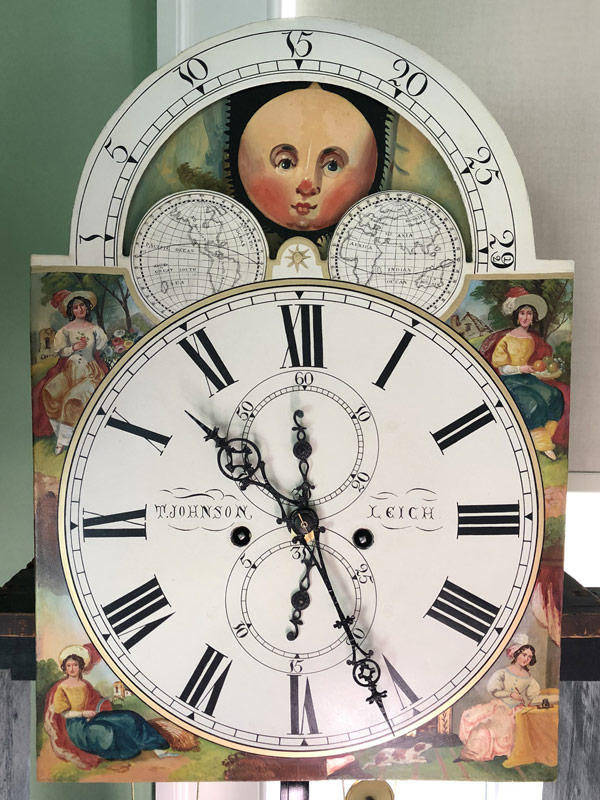T Johnson antique painted clock dial