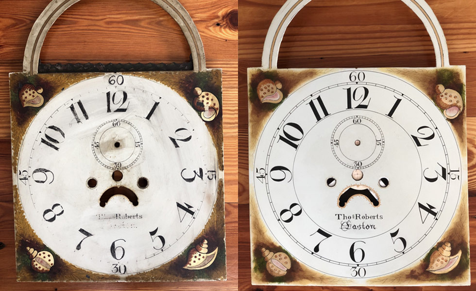 Thomas Roberts ship clock painted dial before and after