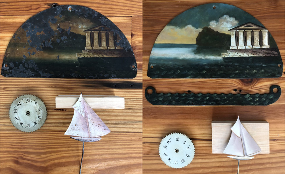 Thomas Roberts ship clock painted dial parts before and after