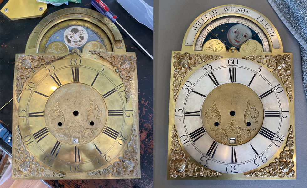 William Wilson Kendal metal dial before and after photos