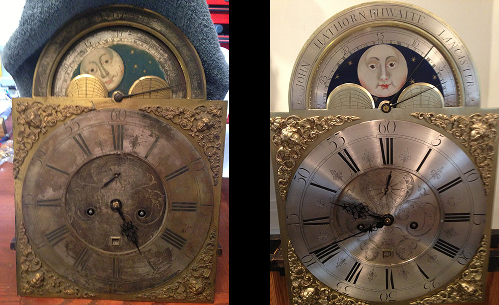 English Tall Case 1760s metal dial before and after photos
