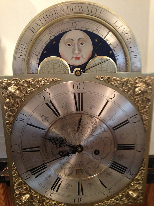English Tall Case 1760s restored antique metal clock dial