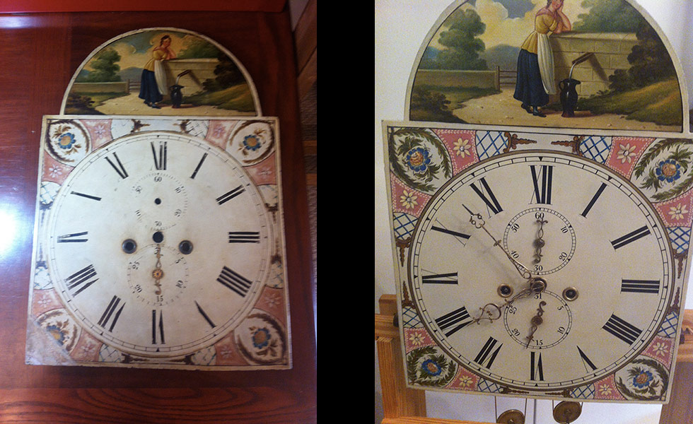 Scottish Tall Case 1830s dial before and after
