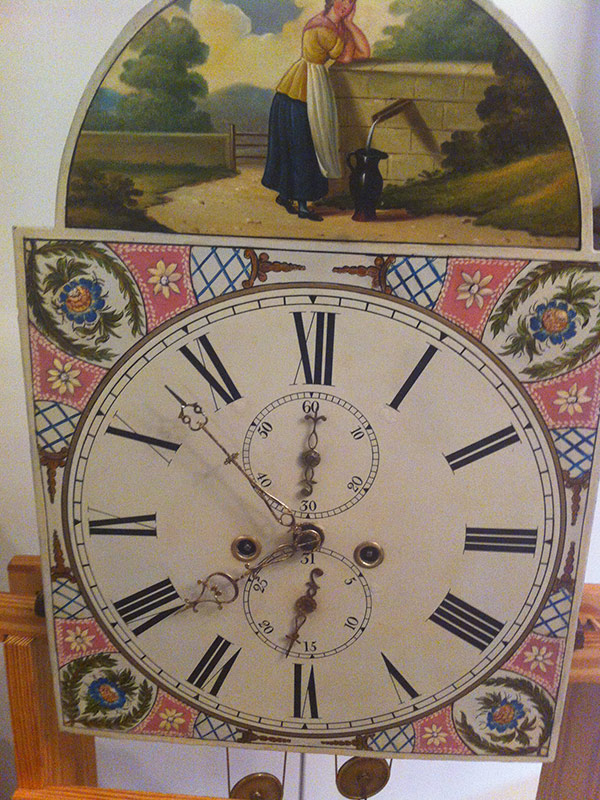 Scottish Tall Case 1830s antique painted clock dial